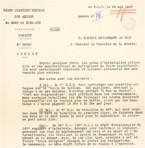 Exemple De Lettre Ouverte Sur La Guerre Dossiers Sur Les Mutineries De 1917