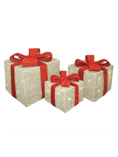 light up presents decorations light up gift boxes presents set of 3 glitter