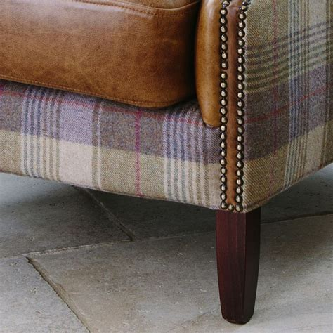 Leather And Tartan Armchair Julius Leather Wool Wing Armchair From Curiosity