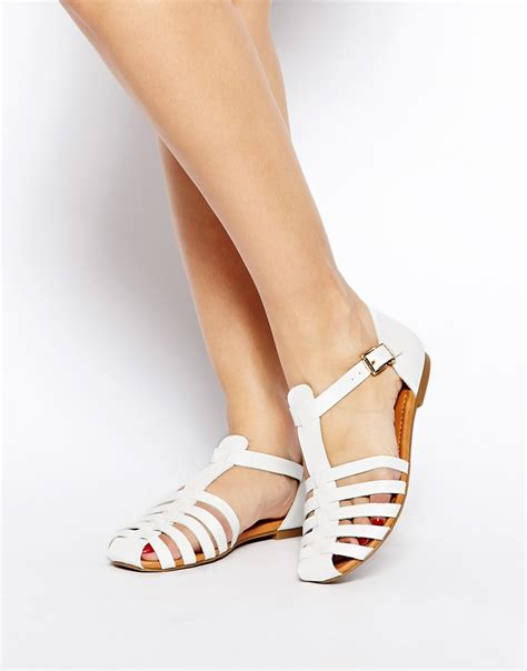 new look new look limbo thin cage white flat shoes at asos