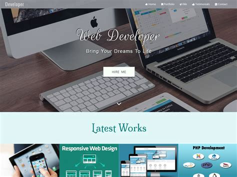 Developer Responsive Bootstrap Personal Website Template Programmer Personal Website Template