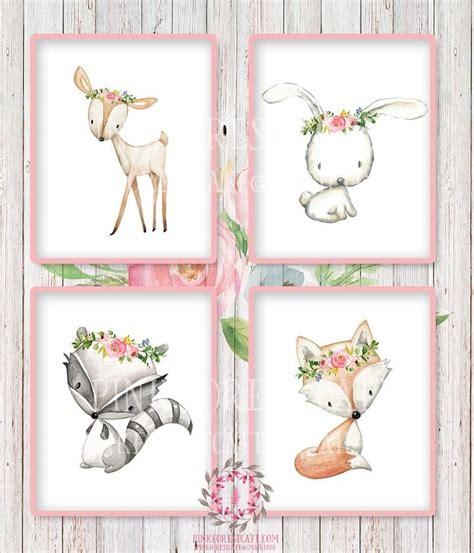 printable baby girl wall art 4 deer fox bunny rabbit raccoon wall art print woodland