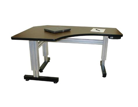 Electric Height Adjustable Computer Desk Offset Corner Electric Adjustable Height Desks Ergosource