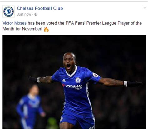 epl november player of the month victor moses wins pfa fans premier league player of the