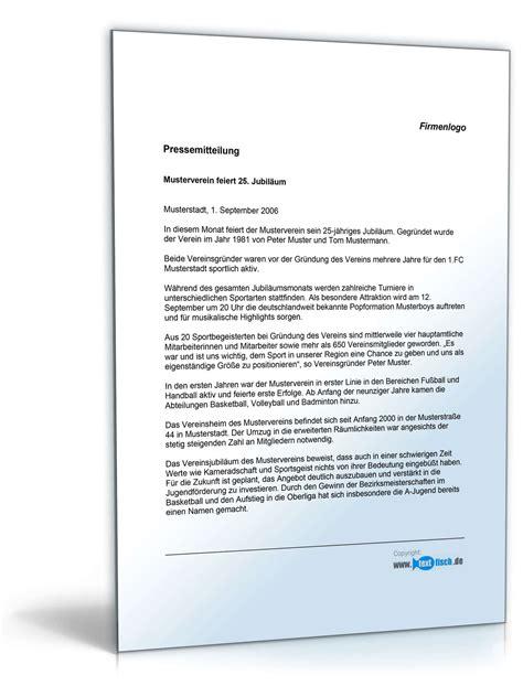 Kostenlos Musterbriefe Herunterladen Pressemitteilung Jubil 228 Um Sportverein Muster Zum
