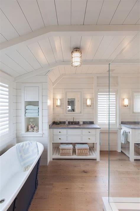 Shiplap Ceiling by Honed Bardiglio Marble Countertop Cottage Bathroom