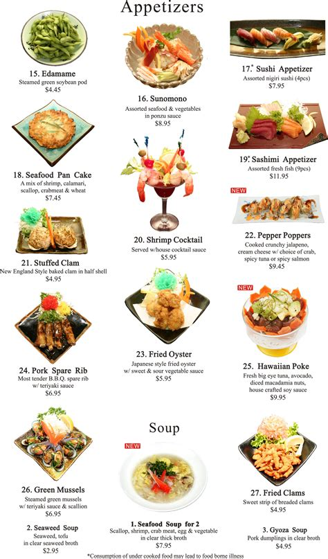 Holiday Appetizers by Japanese Appetizers Menu Ichiban Steakhouse Allentown Pa