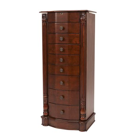 chest drawer jewelry armoire ring safe cabinet mirror