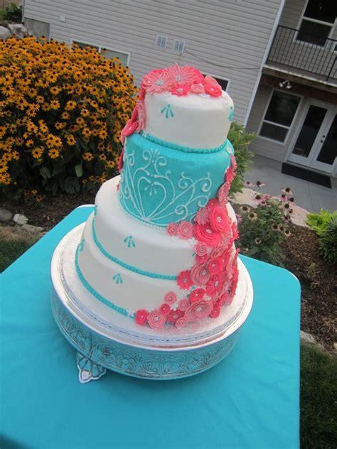 Fuschia & Teal Wedding Cake   Turquoise & Fuchsia Wedding