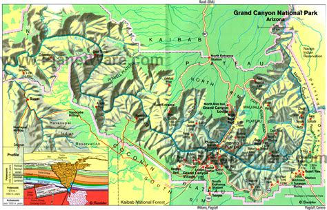 grand map park map of arizona grand national park east