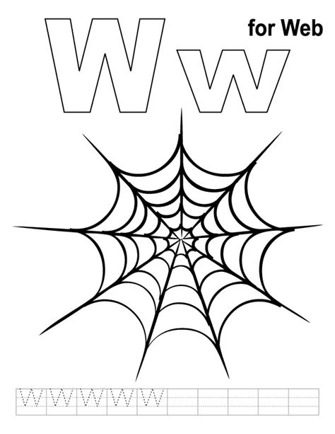 W Is For Web Coloring Page by W For Web Coloring Page With Handwriting Practice