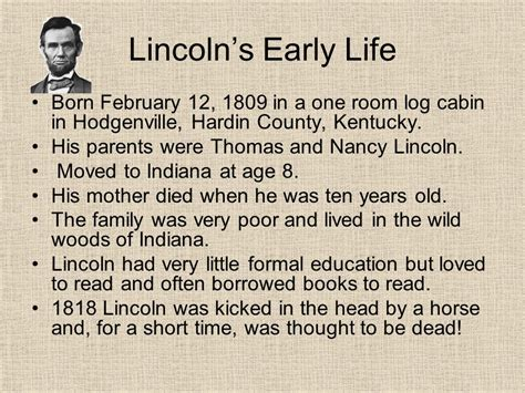 history of abraham lincoln life first president born in a log cabin presidential