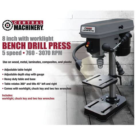 harbor freight bench press 8 in 5 speed bench drill press