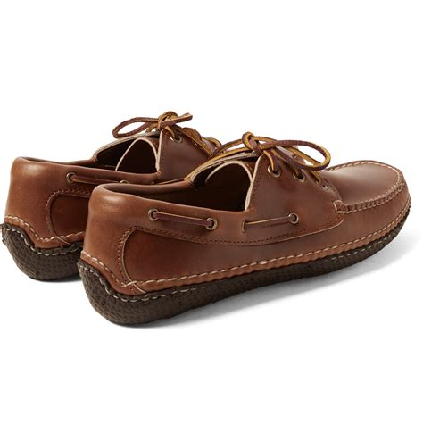quoddy boat shoes quoddy moc ii leather boat shoes in brown for men lyst