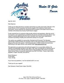 Thank You Letter To Team Mom Parent Thank You Letter From Youth Athletes Sponsorship