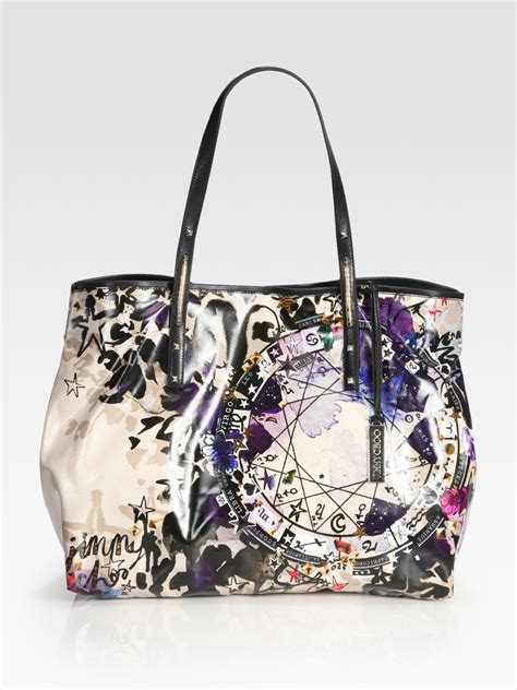 Jimmy Choo Polly Glazed Canvas Bag by Jimmy Choo Glazed Canvas Tote Bag In Multicolor