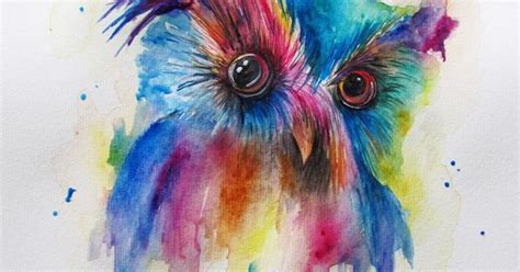 An Owl Papercraft At Bandung - colourful owl watercolor sketch draw paint