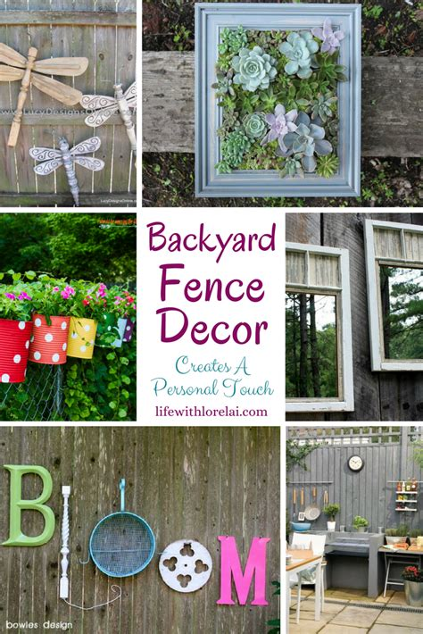 backyard fence decor creates a personal touch with