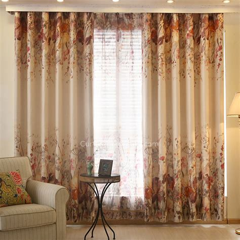 red and tan curtains red and beige floral print poly cotton blend window curtains
