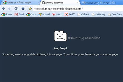 chrome error dummy essentials fix the google chrome quot aw snap quot error