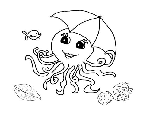 printable outline of octopus and seashells coloring page