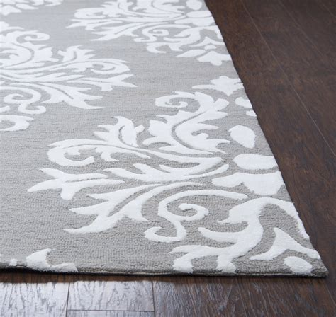 two grey rug harbor classic damask wool runner rug in gray white 2 6 quot x 8