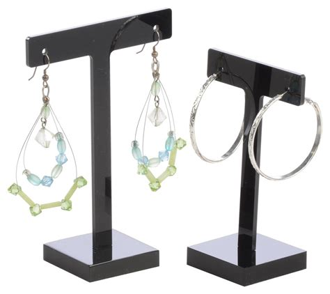 black acrylic earring holder set of 6 stands