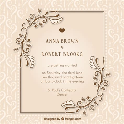 Wedding Invitation Letter Vector Vintage Wedding Invitation With Floral Details Vector Free