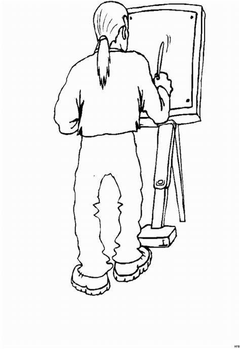 maler mit staffelei ausmalbild malvorlage beruf