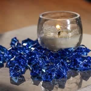 blue acrylic rock gems vase fillers table