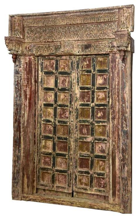 Salvage Interior Doors Carved Salvage Reclaimed Teak Wood Door Traditional Interior Doors By Living