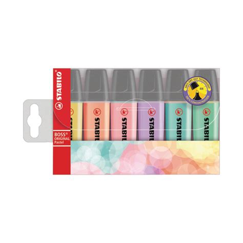 Highlighter Stabilo Pastel Colours stabilo original highlighters assorted pastel colours pack of 6 70 4 2 office