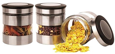 silver kitchen canisters home fashions comin18ju093144 home fashions 3 kitchen canisters glass and stainless steel