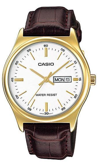 Casio Mtp Voo2g Gold casio mtp v003gl 7a mens gold white analog brown leather band ne great watches