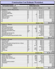 home building estimator what do you by cost sheet