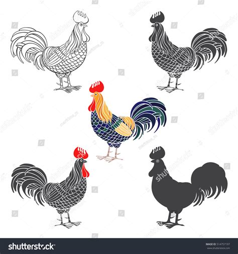 new year 2017 animal element rooster rooster animal symbol of new year 2017 vector