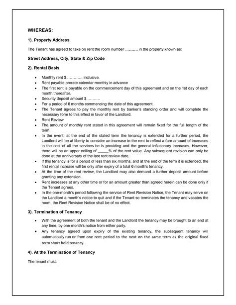 landlords contract template tenancy agreement template