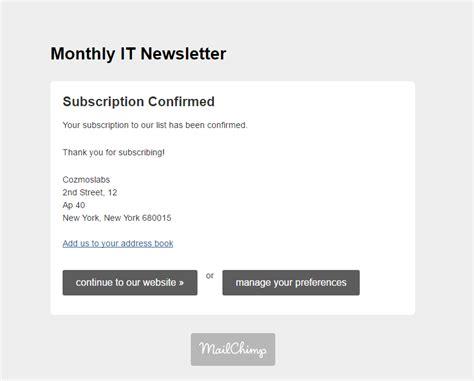 mailchimp confirm subscription template images templates