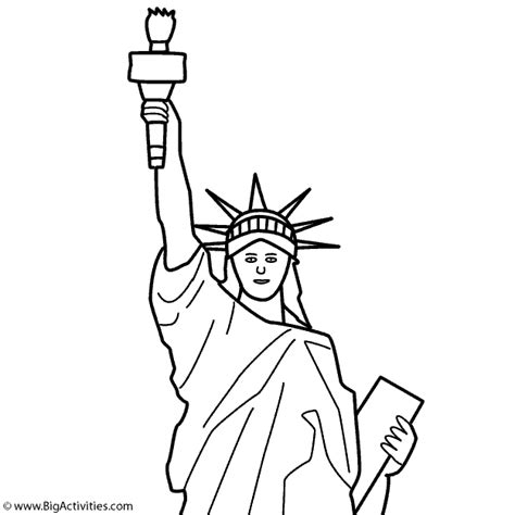 statue of liberty top with title coloring page