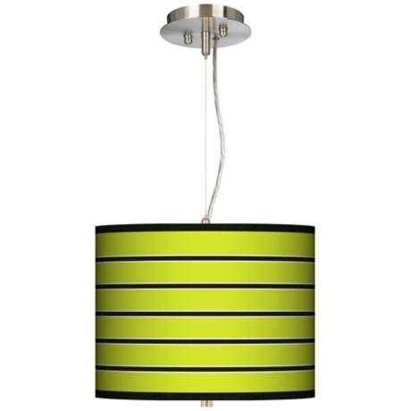 lime green pendant light bold lime green stripe 13 1 2 quot wide pendant chandelier