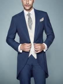 Peak lapel navy blue tailcoat groom tuxedos haut men s wedding dress
