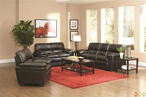 Fenmore Black Faux Leather Contemporary 3 Piece Living Faux Leather Living Room Set