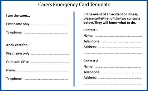 emergency information card template planning for an emergency as a carer