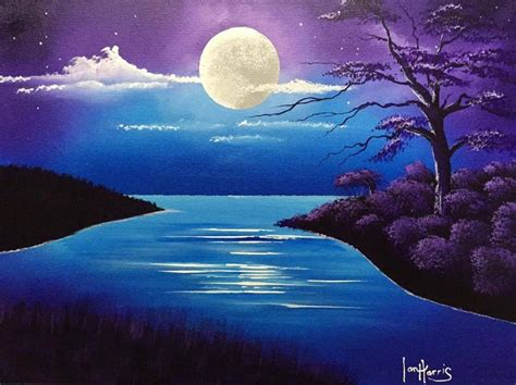 acrylic moon lake painting in purple blues