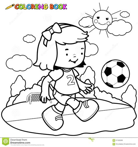 coloring pages of girl soccer players girl soccer player coloring page stock vector image