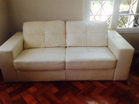 sofas de cuero blanco sof 225 de cuero blanco 3 cuerpos 350 000 en mercado libre