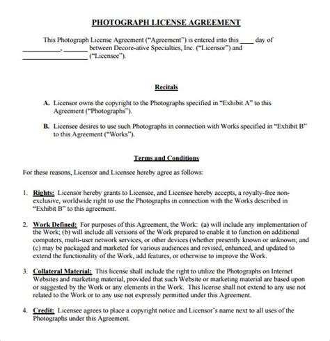 photography license agreement template license agreement 7 free sles exles format