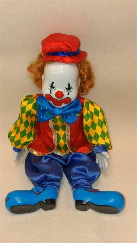 porcelain doll clown painted vintage porcelain and ceramic clown doll