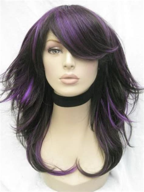 brunette hairstyles with purple highlights purple and dark lowlights hair pinterest love this