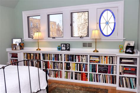 built in bookcases in bedroom